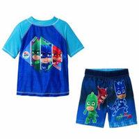 PJ Masks Boys Swim Trunks and Rash Guard Set - Multi Value Bundle - Blue, Sizes 4T and 5T