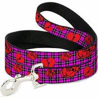 Buckle-Down Pet Leash - Broken Hearts & Roses w Fuchsia Plaid