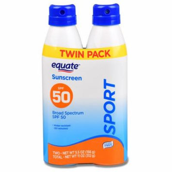 Equate Sport Continuous Spray Sunscreen, Broad Spectrum, SPF 50, 5.5 Oz, Twin Pack