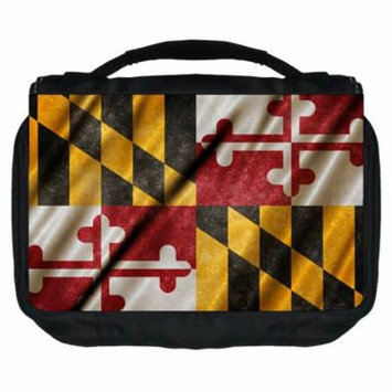 Rosie Parker Inc. TM Small Travel Sized Unisex Hanging Cosmetic/Toiletry Case with 3 Compartments and Detachable Hanger-Made in the U.S.A.- Maryland State Flag