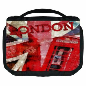 London Art Small Travel Toiletry / Cosmetic Case with 3 Compartments and Detachable Hanger