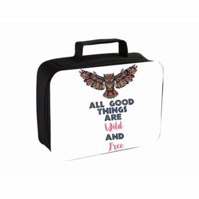 Wild And Free- Ethnic Owl Small Travel Toiletry / Cosmetic Case with 3 Compartments and Detachable Hanger