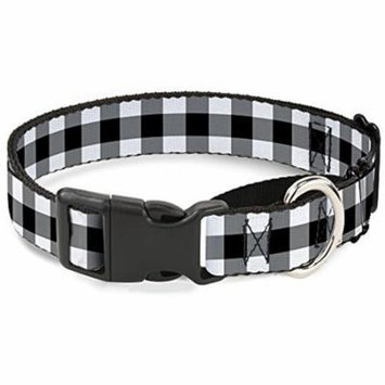 Buckle-Down Buffalo Plaid Black White Martingale Dog Collar