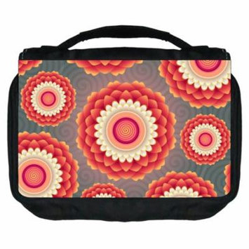 Small Travel Toiletry / Cosmetic Case with 3 Compartments and Detachable Hanger Flower Power
