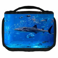 Whale Small Travel Toiletry / Cosmetic Case with 3 Compartments and Detachable Hanger