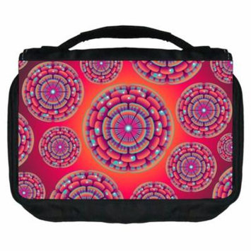 Small Travel Toiletry / Cosmetic Case with 3 Compartments and Detachable Hanger Retro Flower Circles 1