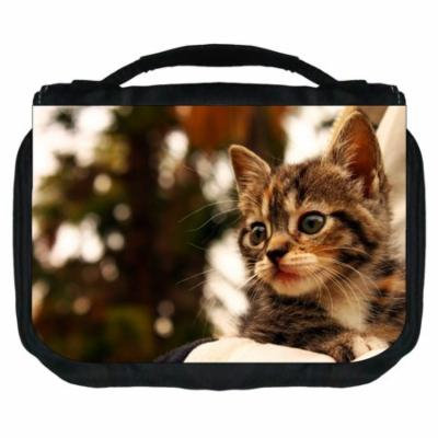 Dreamy Kitty Small Travel Toiletry / Cosmetic Case with 3 Compartments and Detachable Hanger