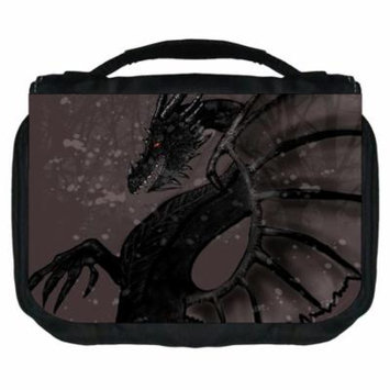 Black Dragon Small Travel Toiletry / Cosmetic Case with 3 Compartments and Detachable Hanger