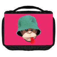 Small Travel Toiletry / Cosmetic Case with 3 Compartments and Detachable Hanger Monkey on Pink