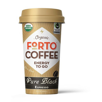 FORTO Coffee Shots - 100mg Caffeine, Pure Black, High Caffeine Cold Brew Coffee, Bottled Fast Coffee Energy Boost, 6 Pack [Pure Black]