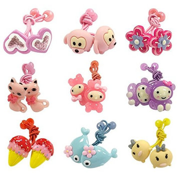 ALLYDREW 18pc Fun Characters Hair Holders in Resin Animals & Shapes for Girls (set of 18)