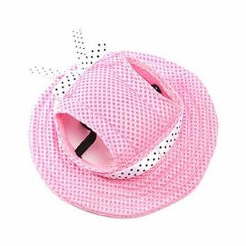 UEETEK Pet Dog Sunbonnet Mesh Porous Sun Cap Hat with Ear Holes for Small Dogs - Size S (Pink)
