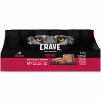 CRAVE Adult Wet Dog Food Beef Pate, 12.5 Ounce Can (6-Count)