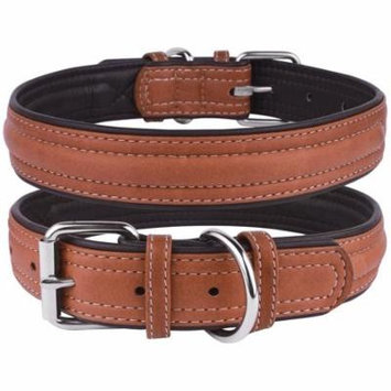 Leather Dog Puppy Collar for Small Dogs Soft Padded, Brown