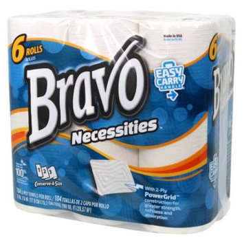 BRAVO Necessities 2-Ply Paper Towels 6-Pack (4 Packs of 6 Rolls, 104 Sheets per Roll)