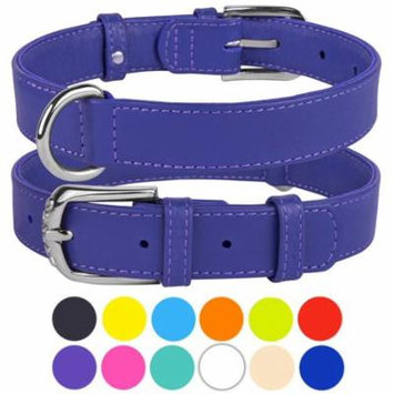 Leather Dog Collar Puppy Collars for Small Dogs Soft Padded, Purple
