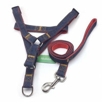 Niubow Denim Dog Leash Harness Collar Set for Small Medium Large Breeds, Adjustable & Heavy Duty Durable Step in Dog Harness Leash for Walking Running Training