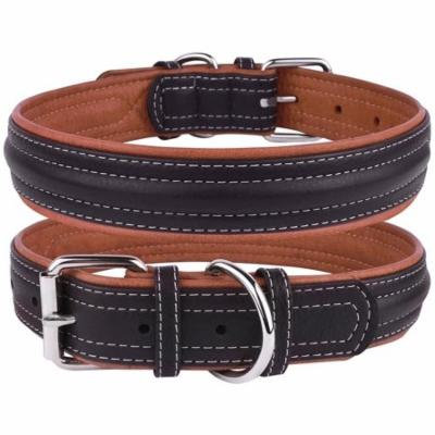 Leather Dog Puppy Collar for Small Dogs Soft Padded, Black