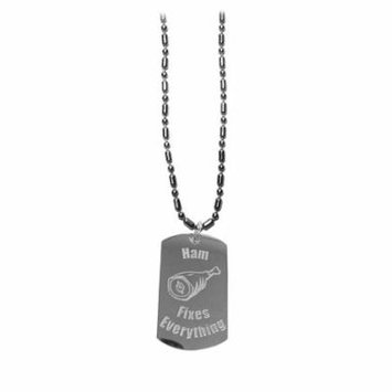 Ham Fixes Everything - Luggage Metal Chain Necklace Military Dog Tag