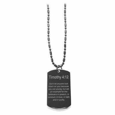 Timothy 4:12 Bible Verse - Luggage Metal Chain Necklace Military Dog Tag
