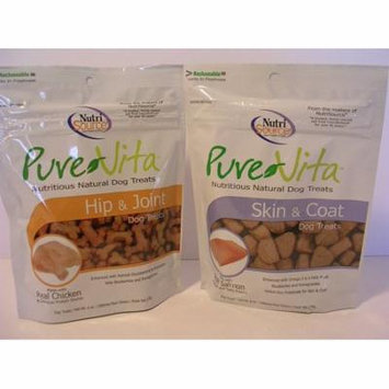 Pure Vita Dog Treats Bundle of 2 - 6 oz bags - Salmon Skin & Coat and Chicken Hip & Joint