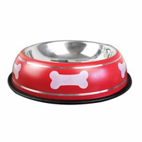 Stainless Steel Bone Print Nonslip Base Dog/ Cat Pet Water & Food Bowl