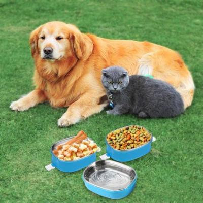 3 Tier Portable Travel Pet Food Water Bowl Set Stainless Steel Dog Cat Bento Bowls Spill Proof