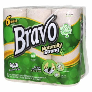 BRAVO Naturally Strong Paper Towels 6-Pack (4 Packs of 6 Rolls, 88 Sheets per Roll)