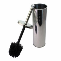 JustNile Stainless Steel Chrome Vented Toilet Bowl Brush & Holder for Deep Cleaning; Comfortable Knob Handle for Hygienic Sanitation; Slim, Compact Design with Rounded Canister for Bathroom