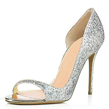 Women PU Exposed Toe Hand Pump Dress Shoes Silver Yellow