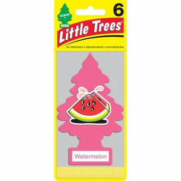 Little Trees Cardboard Hanging Car, Home & Office Air Freshener, Watermelon (Pack of 6)