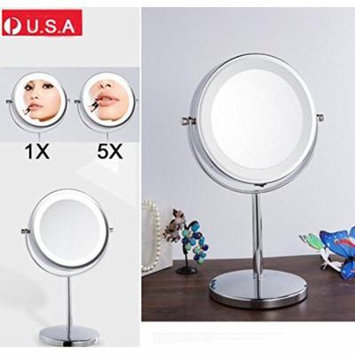 TMISHION Double-Sided LED Light Cosmetic Makeup Mirror with Adjustable Swivel Stand, 5 X Magnifying