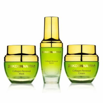 Donna Bella 24K Gold Collagen Radiance Renewal Skin Care Set Mask + Cream + Serum Newly Developed Peptides Joins 24k Gold To Help Prevent The Breakdown Of Collagen and Improve Elasticity and Firmness
