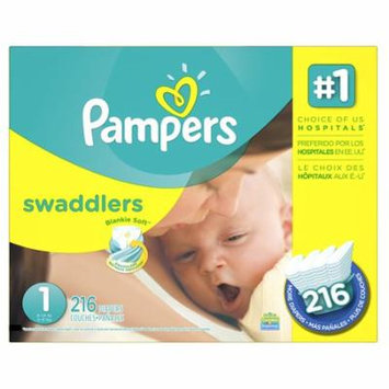 Swaddlers Diapers Size 1 (8-14 lb), 216 Count, ECONOMY PACK PLUS