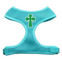 Celtic Cross Screen Print Soft Mesh Harness Aqua Large