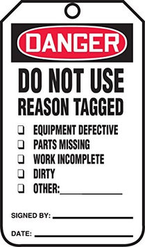 Accu Form DANGER DO NOT USE / REASON TAGGED.