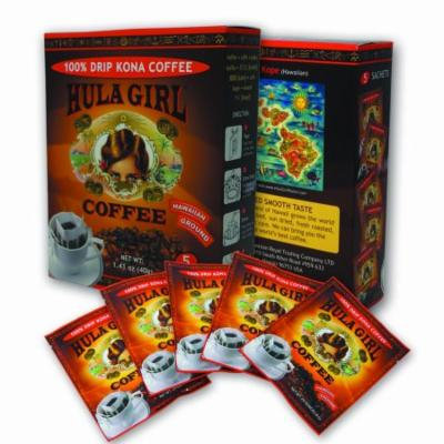 Hula Girl 100% Kona Single Serve Drip Coffee - Box of 5 Sachets