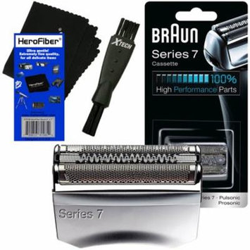 Braun 70S Series 7 Pulsonic Foil & Cutter Replacement Head for 720, 730, 760cc, 765cc, 789cc 790cc, 795cc, 797cc, 799, 9565, 9566, 9585, 9595, 9781, 9782, 9785, 9795 Shavers + Shaver Brush + HeroFiber