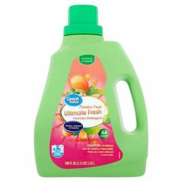 Great Value HE Ultimate Fresh Liquid Laundry Detergent, Paradise Fresh Scent, 100 oz, 64 Loads