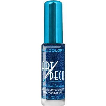 L.a. Girl, Inc. L.A. COLORS ART DECO NAIL ART LACQUER #NA906 BLUE GLITTER