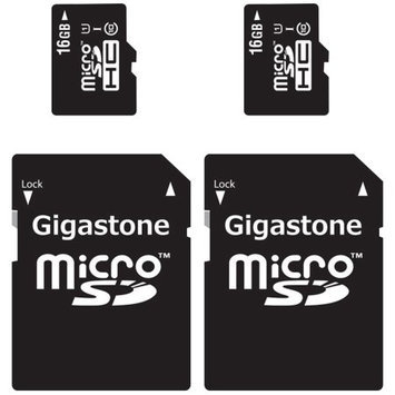 Gigastone MicroSD HC 16GB C10 U1 With SD Adapter 2-Pack Bundle