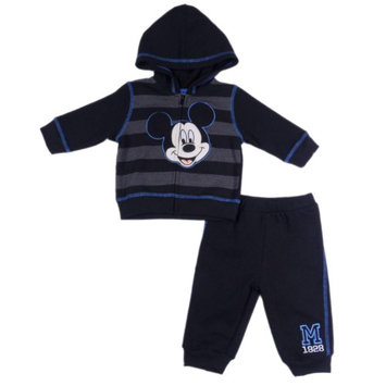 Disney Mickey Mouse Infant Boys 2-Piece Black Striped Hoodie & Pant Set 3-6m