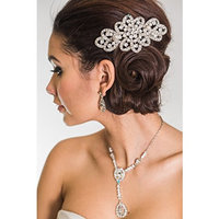 VICTORIA HAIR COMB- SILVER BRIDAL CRYSTAL AND PEARL