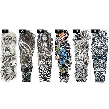 Pinkiou Temporary Tattoo Full Arm Body Stickers Arm Shoulder Tattoo For Man Women Buddha, Skull, Eagle eye, Beauty and Beast Etc
