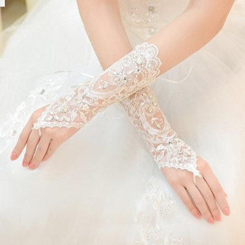 Exquisite Selebrity Fingerless Rhinestone & Sequins Bridal Lace Gloves