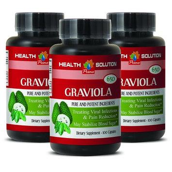 Colon health - PREMIUM GRAVIOLA EXTRACT 650 Mg - Vitamins for men - 3 Bottles 300 Capsules