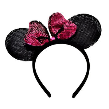 Luve Pink Minnie Mouse Ear Black ear with reversible sequin sparkle headband fit kids teens and adult