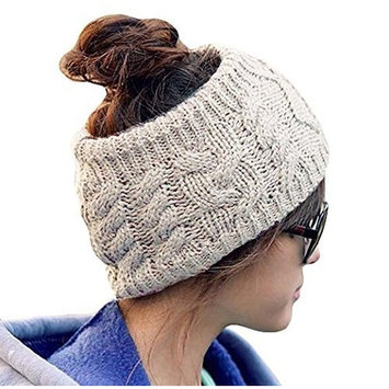 JOVANA Winter Warm Twist knitting wool hat headgear Women's Ladies Korea Knit Crochet flora Twist Style Headband Head Wrap (Beige)