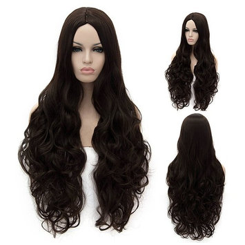 Besmall Women Wig Long Volume Hair Fall Half Curly Hair Piece Various Colours Dark Brown 30