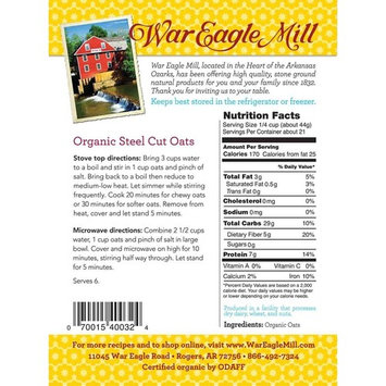 War Eagle Mill Organic Steel Cut Oats in a resealable bag (2 Lbs)